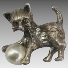 Vintage Sterling Kitten Charm with Faux Pearl Ball