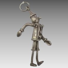 Vintage Articulated Sterling Pinocchio Pendant or Charm