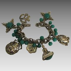 Chunky 1970's Asian Theme Charm Bracelet with Green Beads