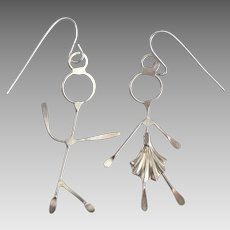 Charming Sterling Stick Figure Boy and Girl Pierced Earrings