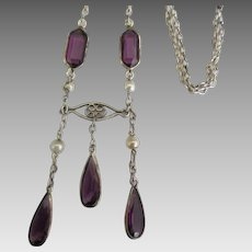 Vintage 1930's Sterling Faceted Purple Bezel Set Bib Necklace