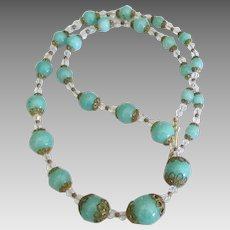 Vintage Aqua Blue Graduated Glass Bead Crystal Necklace