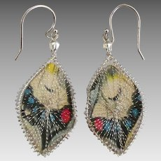 Vintage Caged Butterfly Wings Pierced Earrings