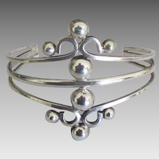 Fancy Vintage Wide Sterling Cuff Bracelet