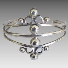 Fancy Vintage Wide Sterling Cuff Bracelet