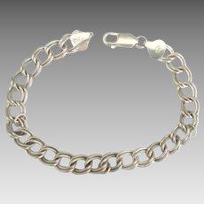 Vintage Sterling Double Link Starter Charm Bracelet