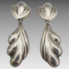Graceful Swirled Sterling Dangle Pierced Earrings