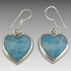 Pretty Sterling Larimar Heart Pierced Earrings