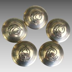 5 Vintage Sterling NA Navajo Gecko Button Covers