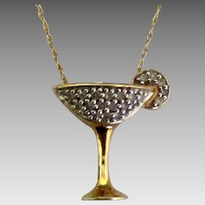 Sparkling Stemmed 10K  Cocktail Glass Pendant and Chain