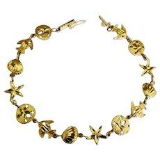 Lovely 14K YG Seashell Ocean Theme Bracelet