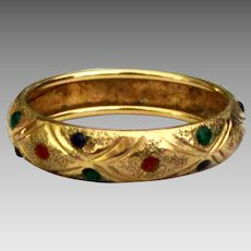 Textured Vintage 10K Ring with Embedded Color- Size 6 1/4