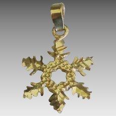 Pretty 14K YG Snowflake Pendant or Charm