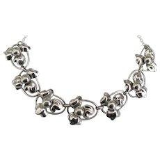 Vintage Signed Sterling Blossom Link Necklace