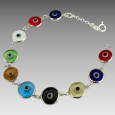 Colorful Sterling Glass Evil Eye Bracelet