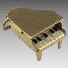 Vintage 14K Movable Grand Piano Pendant or Charm