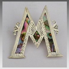 Vintage Sterling Letter M or W Inlaid Brooch