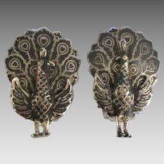 Vintage Sterling Enamel Hinged Peacock Earrings