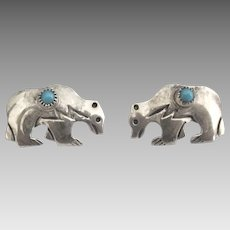Navajo Sterling Turquoise Bear Pierced Earrings