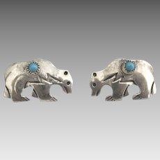 Navajo Sterling Turquoise Bear Pierced Earrings