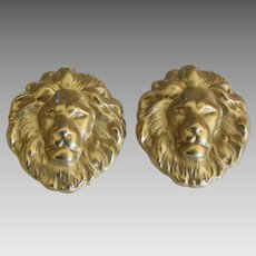 Large Vintage Brass Lions Head Pierced Earrings