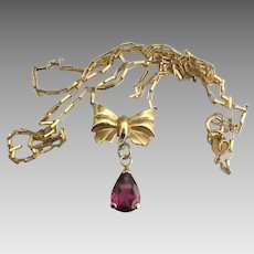 Lovely Italian 14K Bow Garnet Lavalier Necklace