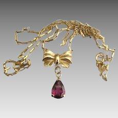 Lovely Italian 14K Bow Garnet Lavalier Necklace