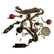 Vintage Chunky Italian Millefiore Beads and Keys Charm Necklace