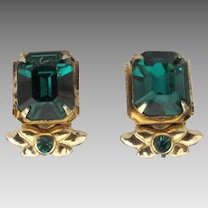 Regal Vintage Coro Emerald Rhinestone Earrings