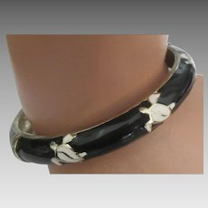 Vintage Enamel Hawaiian Sea Turtle Clamper Bracelet