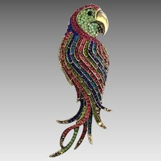 Huge Colorful Rhinestone Parrot Pendant or Brooch