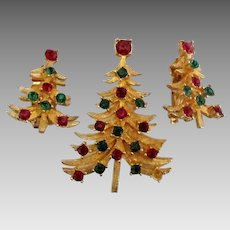Signed Mylu Rhinestone Christmas Tree Brooch and Earrings
