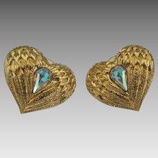 Lovely Kirks Folly Rhinestone Heart Pierced Earrings