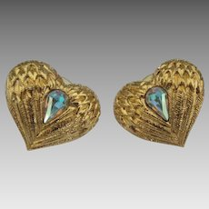 Lovely Kirks Folly Rhinestone Heart Pierced Earrings