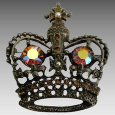 Regal Vintage Large AB Rhinestone Crown Pendant or Brooch