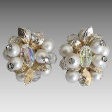 Lovely Mid Century Vendome Faux Pearl Crystal Earrings