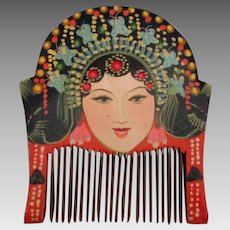 Vintage Hand Painted Wooden Chinese Comb