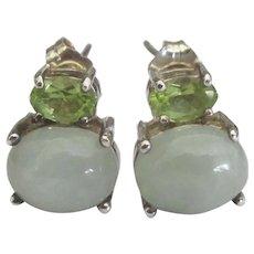 Estate Sterling Moonstone Peridot Pierced Earrings