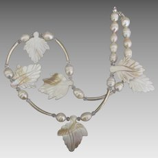 Pretty Sterling Carved Shell Leaves and Fresh Water Pearl Necklace
