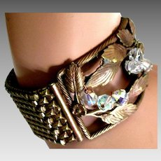 Estate Wide Copper Tone Mesh Leaves and Crystals Bracelet