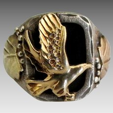 Handsome Vintage Sterling Onyx Gold Overlay Eagle Ring