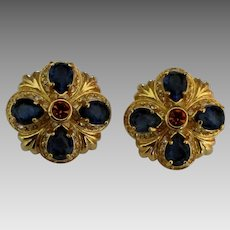 Lovely Estate Nolan Miller Faux Sapphire Pierced Earrings
