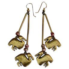 Vintage Laurel Burch Fetish Dangle Pierced Earrings