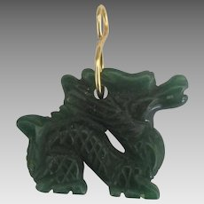 Lovely Vintage Carved Jade Dragon Pendant