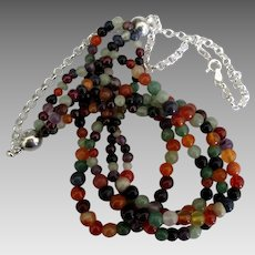 Lovely Sterling 4 Strand Gemstone Bead Necklace
