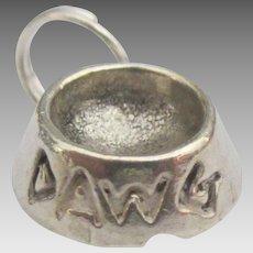 Vintage Sterling Dog Dish Charm