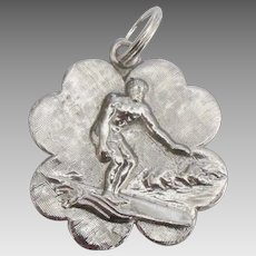 Vintage Sterling Surfer Pendant or Large Charm