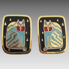 Vintage Laurel Burch Cats Pierced Earrings