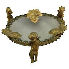 Vintage Frosted Ormolu Cherub Vanity Dish with Frosted Glass