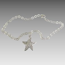 Sterling Ankle Bracelet with Pave Starfish